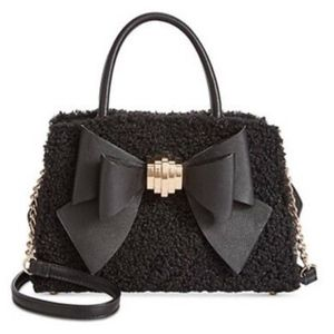 NWT Betsey Johnson Black Bow Tote With Chain